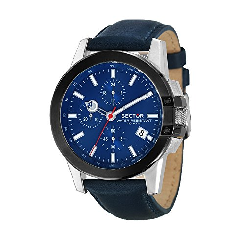 SECTOR Herren Chronograph Quarz Uhr mit Leder Armband R3271797005