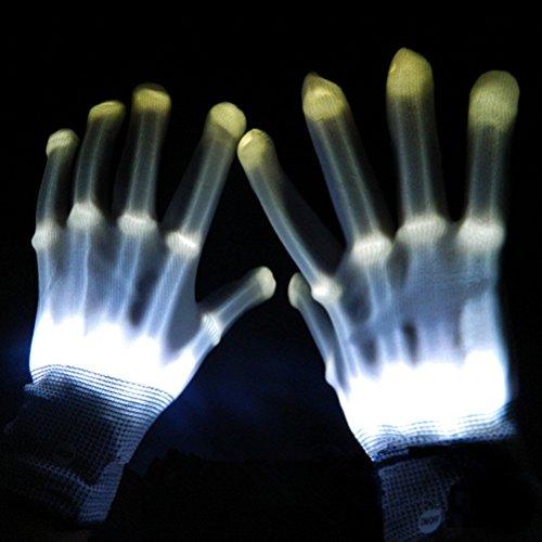 ng Handschuhe , Handschuhe Licht-Show, Halloween Party blinkt Finger Handschuhe (weiß) (Weiß Rave Handschuhe)