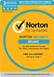 Norton Security Deluxe - 3 Devices - 1 Year (PC, Mac, Android, IOS) (Email Delivery in 2 Hours - No CD)
