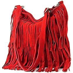 modamoda de - ital bandolera con flecos de gamuza T125, Color:rojo