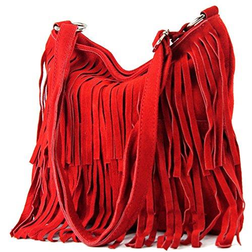 modamoda de - ital. Ledertasche Umhängetasche Fransentasche Schultertasche Wildleder T125 Rot
