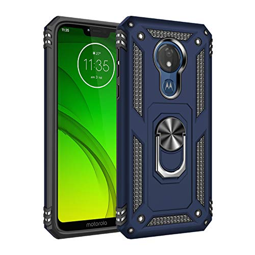 Wubaouk Moto G7 Power Hülle with Ring Holder, Rotating Kickstand Stand for Car Magnetic Mount Slim Soft Shockproof Silicone Gel TPU Phone Cover for Motorola G7 Power Slim Mount Speakers