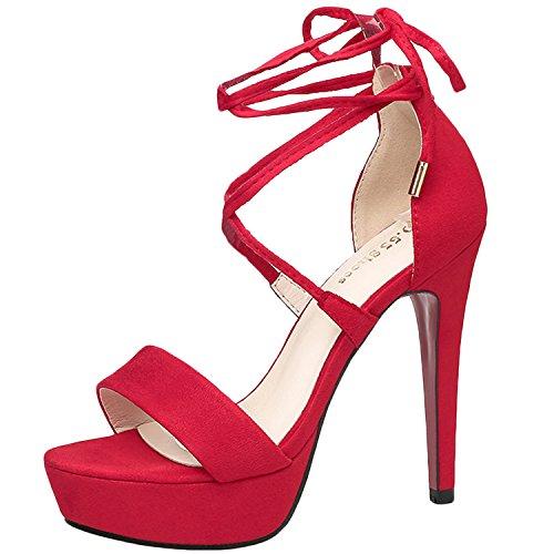 Oasap Women's Peep Toe Platform Ankle Lace-up Stiletto Sandals Black
