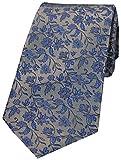David Van Hagen - Cravatta da uomo in seta, motivo floreale, colore: argento/blu
