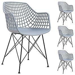 IDIMEX Lot de 4 chaises Alicante pour Salle à Manger ou Cuisine au Design Retro avec accoudoirs, Coque en Plastique…