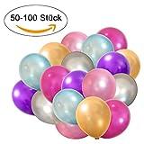 50 Metallic Luftballons - Helium geeignete Herz-Luftballons - Qualitätsware - Ballons für Hochzeit, Valentinstag, Geburtstag uvm. (50, Metallic - Silber, Pfirsich, Brombeere, Mint, Zartrosa, Lila)