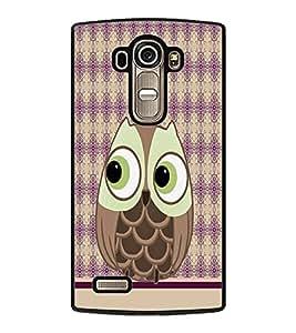 PRINTVISA Cartoon Owl Premium Metallic Insert Back Case Cover for LG G4 - D5952