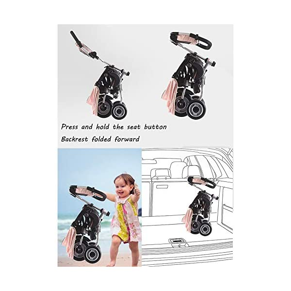 BGHKFF Childrens Folding Tricycle 6 Months To 6 Years Light And Sturdy Kids Tricycle Detachable And Adjustable Push Handle 3-Point Safety Belt Child Trike Maximum Weight 50 Kg,Pink BGHKFF ★ 4-in-1 multi-function: convertible into stroller and tricycle. Remove the backrest and awning as a tricycle. ★Material: Carbon steel + environmentally friendly plastic, suitable for children from 6 months to 6 years old, maximum weight: 50 kg ★ Tricycle foldable, space saving, easy to carry, is the best travel companion, 3-point seat belt, front wheel clutch, rear wheel brake 3
