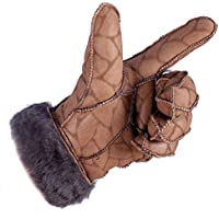 Pelle di pecora lana guanti caldi cavalcare un guanto lana spessi guanti in pelle donne,giovane foglie, signora