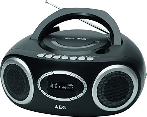 AEG SR 4370 DAB+/UKW Stereo-Radio mit CD/MP3, USB-Port, Kopfhörerbuchse, Senderspeicherfunktion, beleuchtetes LCD-Display schwarz