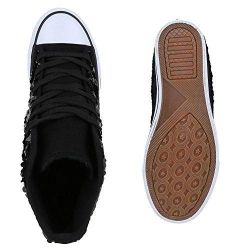Damen Sneakers Keilabsatz High Top Sneaker Wedges Pailletten Schwarz