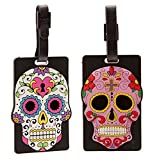 Day of the Dead PVC Skull Luggage Suitcase Tag Bag Identifier