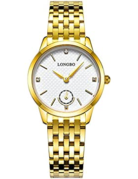 Longbo Luxus Damen Gold Edelstahl Band Analog Quarz Business Watch Vintage Paar Kleid Watch Strass Fake Chrono...