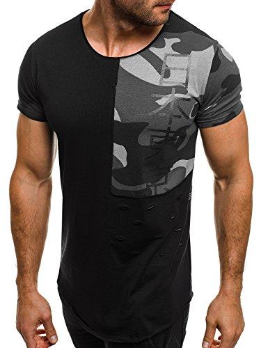 OZONEE uomo maglietta con motivo Manica Corta Girocollo Che fa risaltare la figura Mimetico BREEZY 538 Grigio