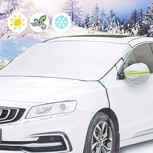 Fengzio Frontscheibenabdeckung Auto Doppel Fixierung Windschutzscheibenabdeckung Scheibenabdeckung Auto Sonnenschutz Faltbare Windschutzscheibe Auto perfekte gegen UV-Strahlung, EIS, Frost, Schnee