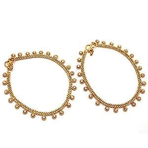 Jewar Mandi Gold Plated Cz Anklet For Girls