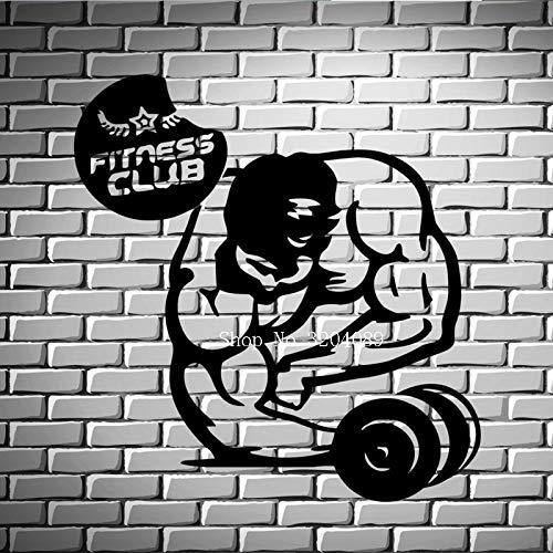 yiyitop Bodybuilding Fitness Club Eisen Sport Wandaufkleber Dekoration Wohnzimmer Wand Kunst Vinyl Aufkleber Selbstklebende Einzigartiges Geschenk 84 * 88 cm