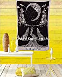 Urban Moon Tapestry, Crying Wolf Bedding Single, Indian Wall Hanging, Cotton ...