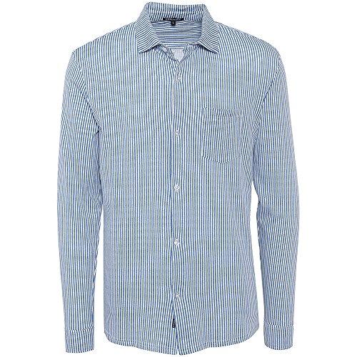Chiemsee Herren Gestreift Hemd, D1122 Aqua Stripe Blue, M (Aqua-hemd)