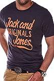 Jack & Jones Herren T-Shirt Kurzarmshirt Print (M, Dark Grey Melange)