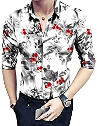 Radhe Digital Print Men's Floral Digital Printed Unstitched Full Sleeves Shirt (Multicolour, Free Size)