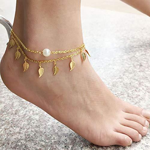 WEIWEITOE Mehrschichtige Fußkettchen-Damen-Quaste überlagerte Blatt-Perlen-Fußkettchen-Fußkettchen-Schmucksachen für Frauen-Mädchen-hängende Fuß-Fußkettchen