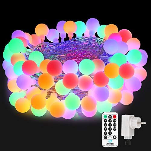 Qedertek luci di natale, catena luminosa 10m con 100 palline, luci natalizie da esterno, luci per albero di natale, luci addobbi natalizi per soggiorno, luci colorate per decorazione natale