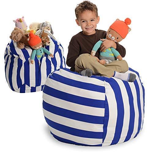 EXTRA GROẞER Sitzsack - Stausack/Bean Bag für Stofftiere mit Abdeckung von Smith - Räumen Sie Räume auf und lassen Sie diese Kreaturen für sich arbeiten! (40 Zoll, weiß und blau gestreift) (Bean-bag-blau)