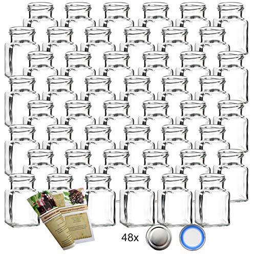 gouveo 48er Set Einmachgläser Quadrat 150 ml incl. Drehverschluss Silber und 28-seitige Flaschendiscount-Broschüre, Vorratsgläser, Marmeladengläser, Gewürzgläser, Einweckgläser