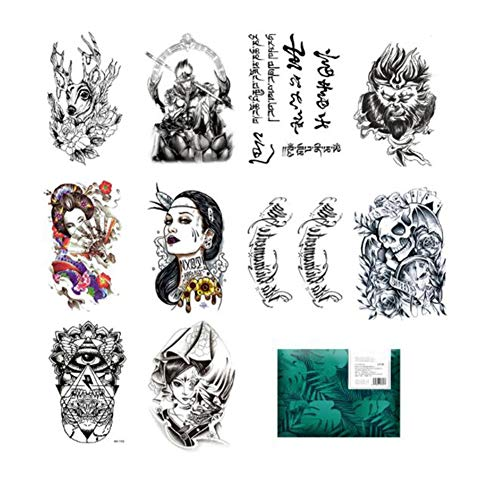 oo Transfer Aufkleber - 10 Blatt Full Arm Größe Tattoo Körper Aufkleber Für Mann & Frau Wasserdicht Abnehmbar Ungiftig & Sicher Für Alle Haut ()