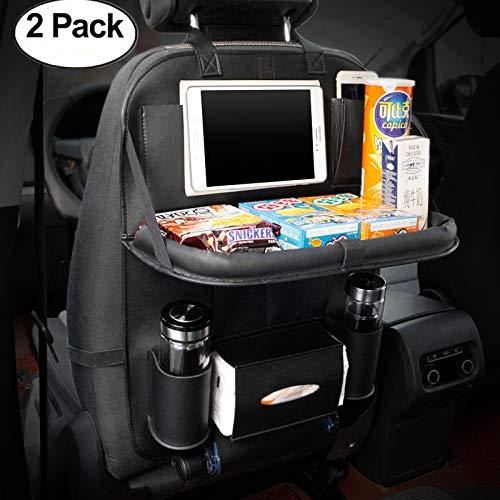 HCMAX 2 Pack Luxus Auto-Rückenlehnenschutz Autositz-Zurück-Organisator Faltbar Esstisch Halter Tablett Multifunktional Schutz Aufbewahrungstasche Trittmatte Reisezubehör PU-Leder -