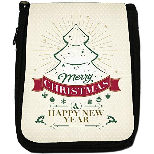 Elegante Vintage auguri di Natale Medium Nero Borsa In Tela, taglia M Merry Xmas Tree & New Year