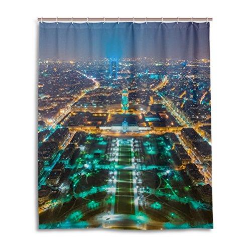 MyDaily Duschvorhang Paris in der Nacht Cityscape 60x 72cm, schimmel resistent und Dekoration Wasserdicht Polyester Bad Duschvorhang (Paris-dekorationen Nacht In)