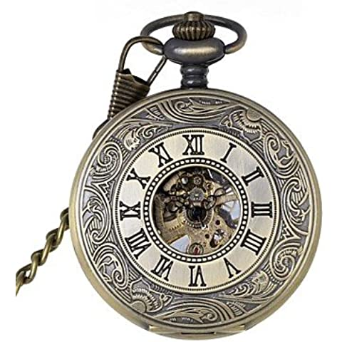 Retrò uomini scavano fuori numeri romani meccanica marca orologio da tasca orologi nuova mano meccanica del vento ( Colore : Bronze , Taglia : Taglia unica )