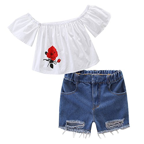 HBER 1-7 Jahre Baby kleine Mädchen Aus Schulter Rosen-Druck T-Shirt Tops + Zerrissen Jeans shorts Kleidungsset