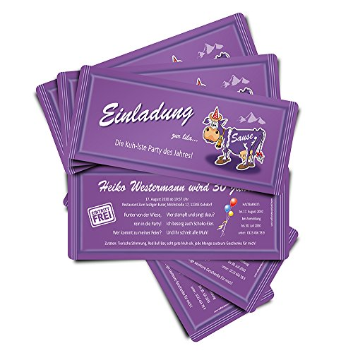 90 Einladungskarten zum Geburtstag Lila Sause Geburtstagskarten Geburtstagseinladungen Ticket Eintrittskarte Einladung Schokolade