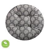 Cuscino da Meditazione Seggiolino Tondo -DOTBUY Cuscino Lounge da Esterno Cuscino per mobili e Arredamento da Giardino Federa Cotone e Lino Resistente 100% Imbottiti (50 * 50cm,Grigio Scuro)