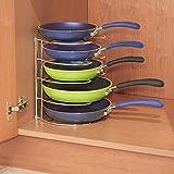 mDesign Pfannenhalter – Küchenaufbewahrung für 28 cm Pfannen – auch zur Topfdeckel Aufbewahrung geeignet – verchromtes Metall - 2