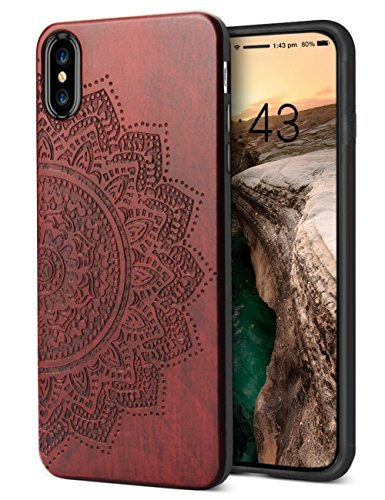 iPhone X Hülle Holz, YFWOOD iPhone X Hülle Cover, Sonnenblume Rosewood Echtes Holz Schnitzen Handyhülle iPhone X (Hinweis 4 Fall Mit Screen Protector)