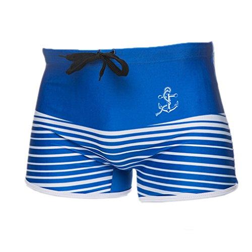 ELE GENS Herren Jungen Badeshorts Badehose Strandshorts Gestreift Blau