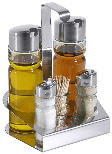 Menage, 5-teilig, aus Edelstahl 18/0, mit glatten Glaseinsätzen für Essig & Öl, Zahnstocher, Salz & Pfeffer / 14 x 11 x 19 cm   ERK Erk 19