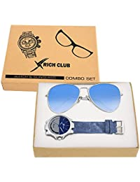 Rich Club Sky Blue Casual Leather Strap Watch With Aviator Sunglass Free For Men And Boys