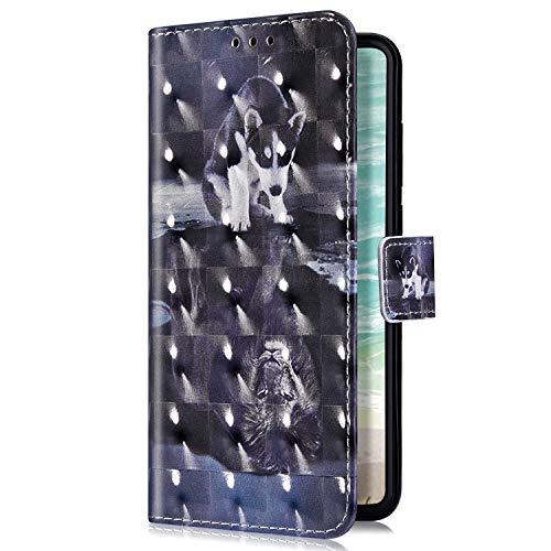 Uposao Kompatibel mit Samsung Galaxy A7 2018 Handyhülle Luxus Bling Glitzer Bunt Muster Wallet Schutzhülle Leder Hülle Klapphülle Wallet Bookstyle Handy Tasche Magnet Kartenfach,Hund Löwe