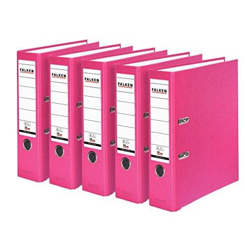 Falken PP-Color Kunststoff-Ordner 8 cm breit DIN A4 Pastell-Farbe pink 5er Pack Ringordner Aktenordner Briefordner Büroordner Plastikordner Schlitzordner
