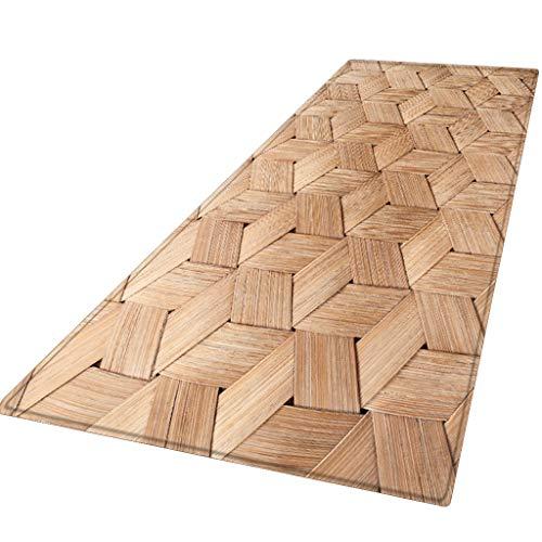 Xmansky Flanell gedruckten Schlicker saugfähige Matten,Sommer-Serie Teppich Flur Fußmatte rutschfeste Teppich absorbieren Wasser Küchenmatte/Teppich 60X180CM -