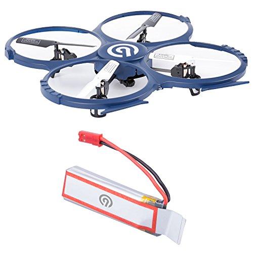 Original NINETEC Spaceship9 RC Drohne HD Kamera für Video Foto mit Akku-Warner und 360° Flip Funktion 2.4 GHz 4-Kanal 6-AXIS Stabilization System und Ersatz-Akku Batterie