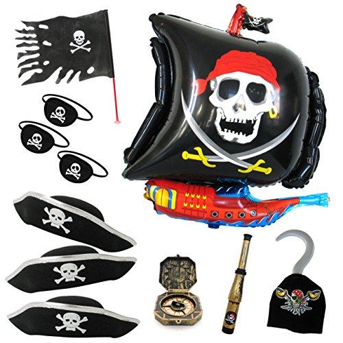 hiff Ballon Fahne Mütze Augenklappe Fernrohr Kompass Haken Piraten Team Silber ()