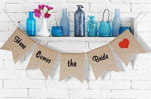 Lanlan Hot Verkauf Hochzeit Party Banner Schild rustikal Hessen-hier kommt die Braut Jute Wimpelkette