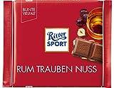 RITTER SPORT Rum Trauben Nuss (100 g), Vollmilchschokolade mit echtem Jamaika-Rum, fruchtigen Trauben und Nussstückchen, Schokolade mit Rum-Aroma