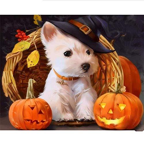 Waofe Rahmen Halloween Hund Diy Malerei By Anzahl Tiere Moderne Acrylfarbe Auf Leinwand Malerei Einzigartiges Geschenk Für Wohnkultur